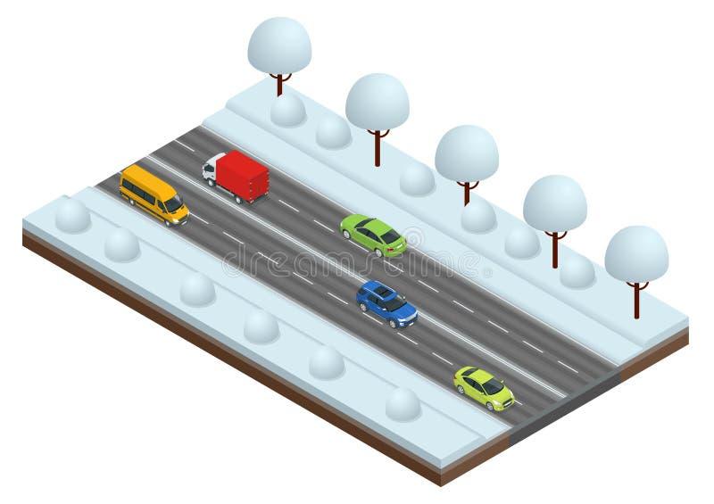 Het isometrische de Winter Drijven en verkeersveiligheid De auto berijdt op een gladde weg Auto's op vectorillustratie van de de  stock illustratie