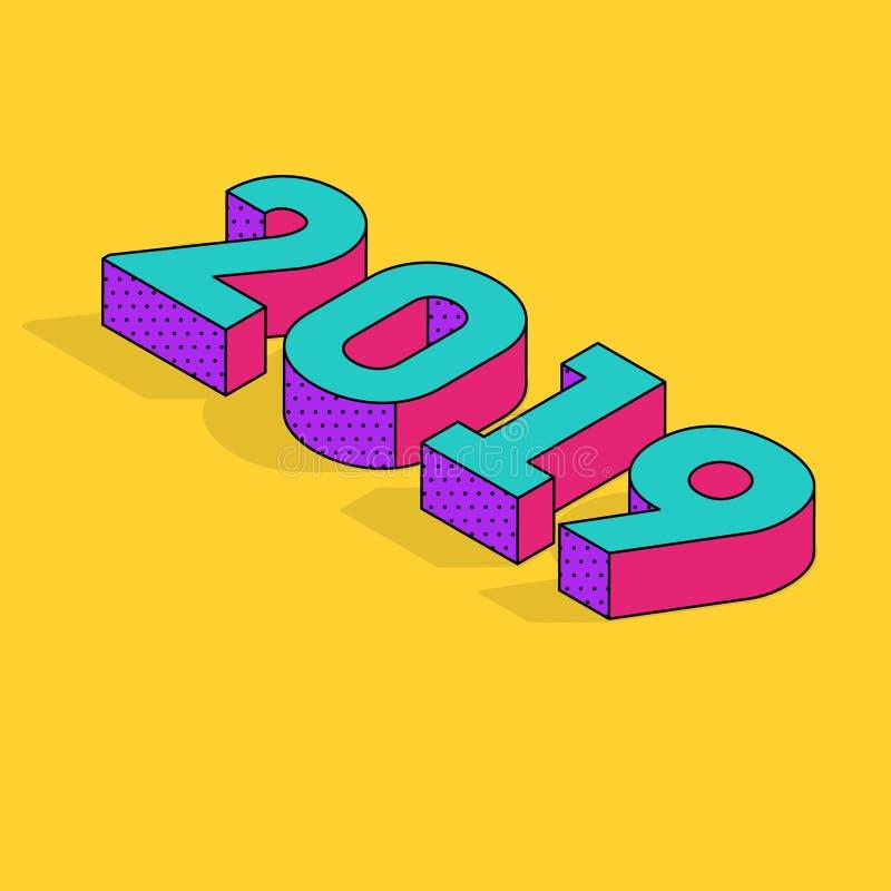 het isometrische die aantal van 2019 op een heldere gele achtergrond wordt geplaatst Trillende kleurrijke 3D Brieven voor groetka royalty-vrije illustratie