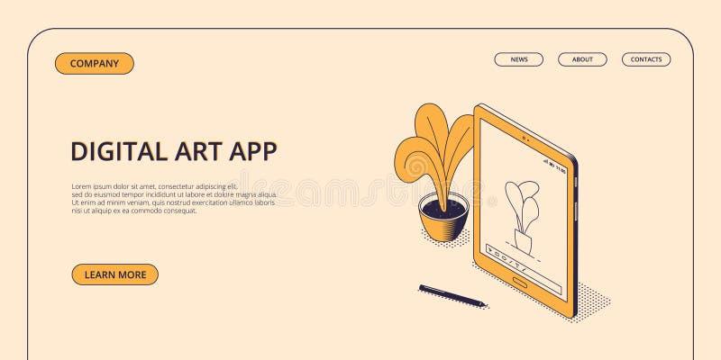 Het isometrische digitale concept van de kunsttoepassing op webpaginamalplaatje stock illustratie