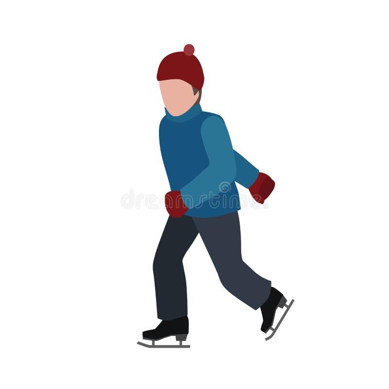 Het isometrische geïsoleerde mens schaatsen De sport van de winter Olympische spelen, recreatielevensstijl, het uiterste van de a royalty-vrije illustratie