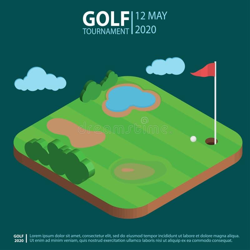Het isometrische landschap van de golfcursus, gat met vlag een bal De Samenstelling van de golfclubsport Vector vector illustratie