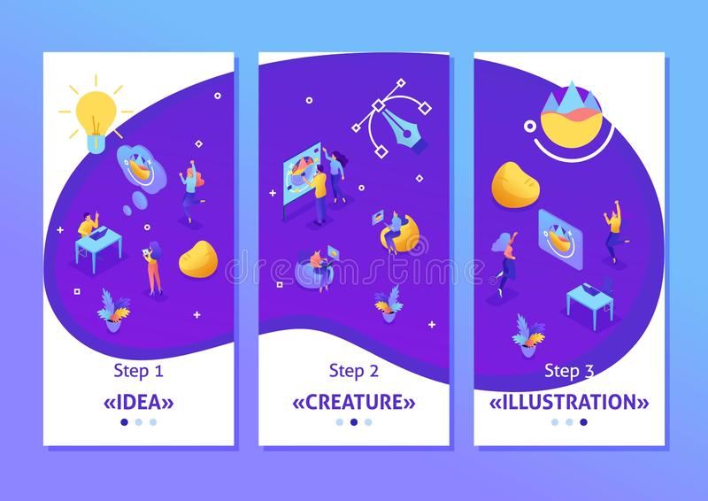 Het isometrische Malplaatje app die tot ideeën, werknemers leiden ontwikkelt het ontwerp Groepswerk van creatieve mensen, smartph vector illustratie
