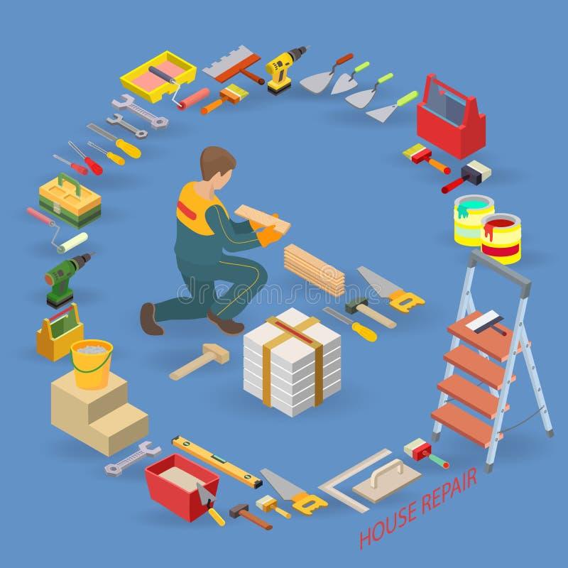 Het Isometrische Malplaatje van de huisreparatie De bouwer legt parket stock illustratie