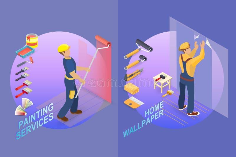 Het Isometrische Malplaatje van de huisreparatie Bouwer met hulpmiddelen royalty-vrije illustratie