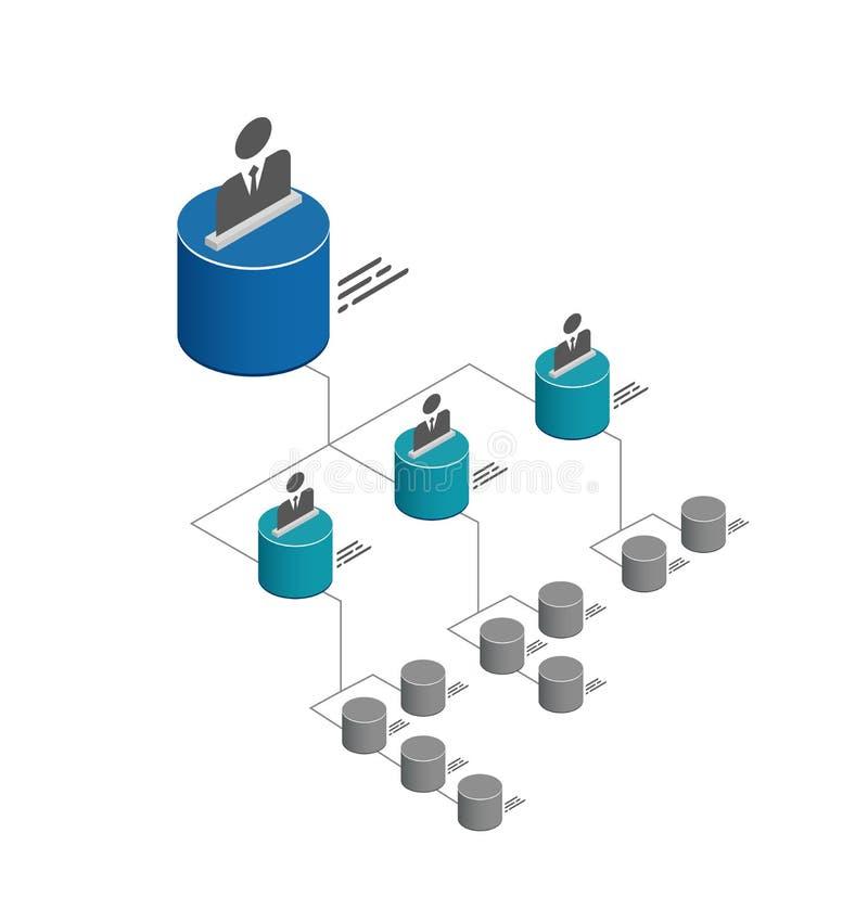 Het isometrische malplaatje van de organisatiegrafiek met kleurrijke 3D kubussen en plaats voor namen en posities stock illustratie