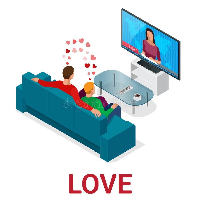 Het isometrische mensenlgbt Homosexueel dateren en Lesbische Paarogenblikken Het concept van het geluk stock illustratie