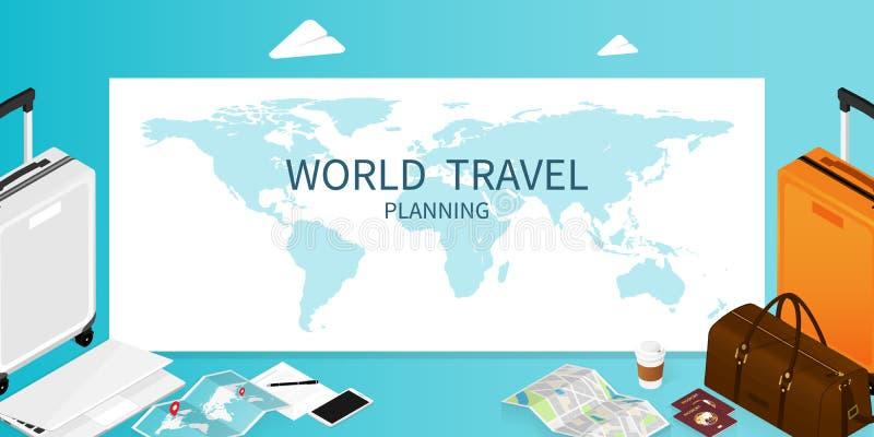 Het isometrische online boeken, de kaart van de paspoortwereld, de vector van de de reisbanner van het reisplan stock illustratie
