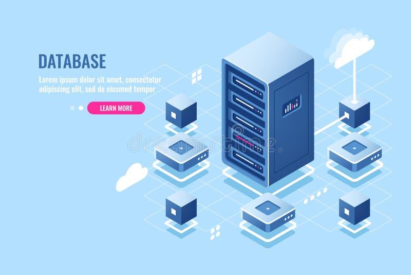 Het isometrische pictogram van de serverruimte, databaseverbinding, overdrachtgegevens bij de verre wolkenopslag, serverrek, data stock illustratie