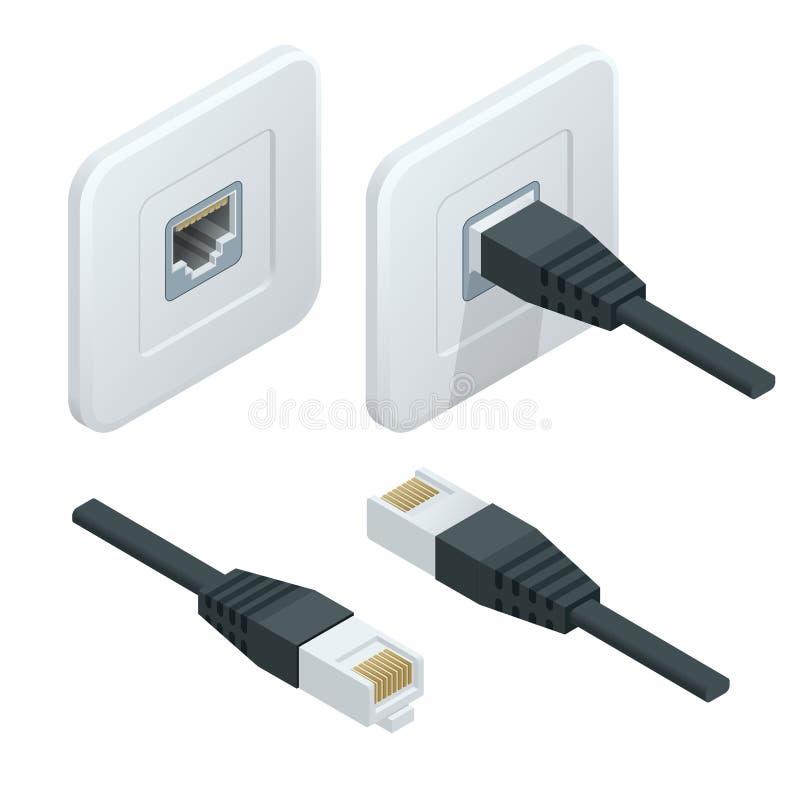 Het isometrische Vectorpictogram van de netwerkcontactdoos LAN kabelnetwerk Internet stock illustratie