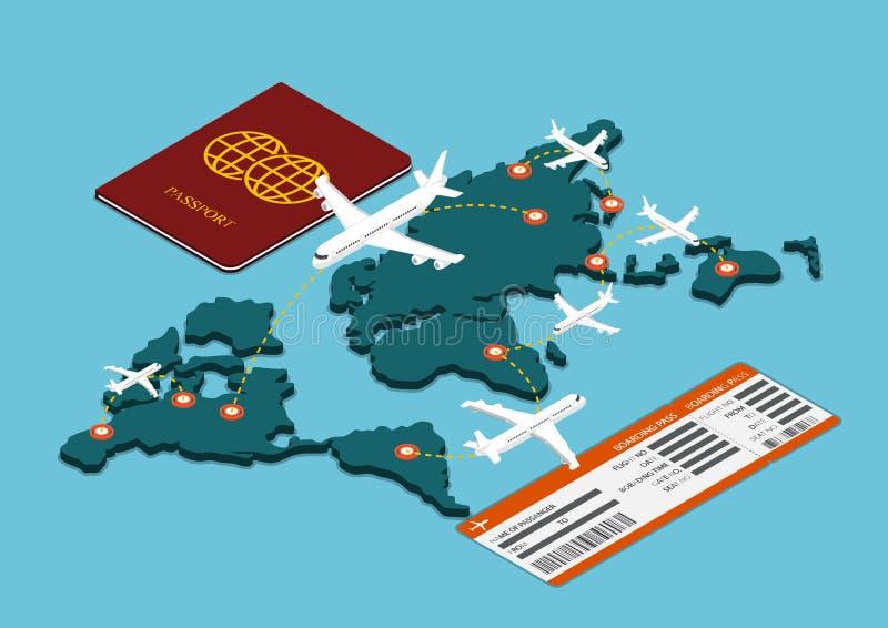 Het isometrische vervoer van de luchtreis royalty-vrije illustratie