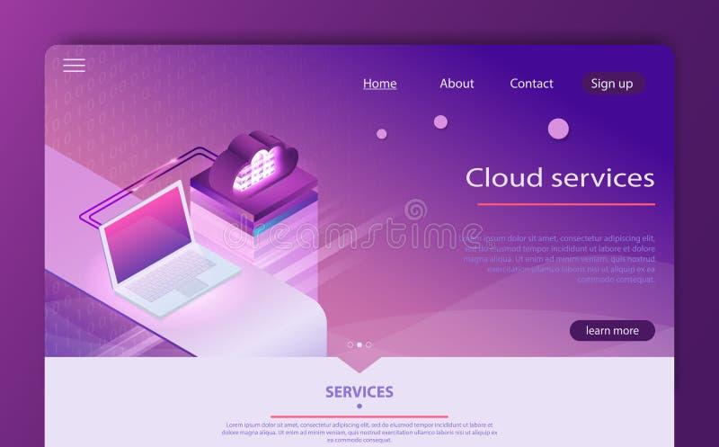 Het isometrische wolk concept van de gegevensverwerkingsdiensten De opslag van de conceptenwolk vector illustratie
