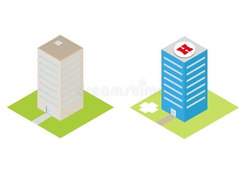 Het isometrische ziekenhuis met een vlak 3d helihaven en commerciële gebouwen vector illustratie