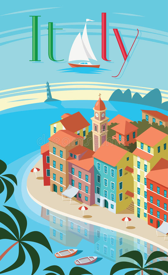 Het Italiaanse kustlandschap van stadsportofino vector illustratie