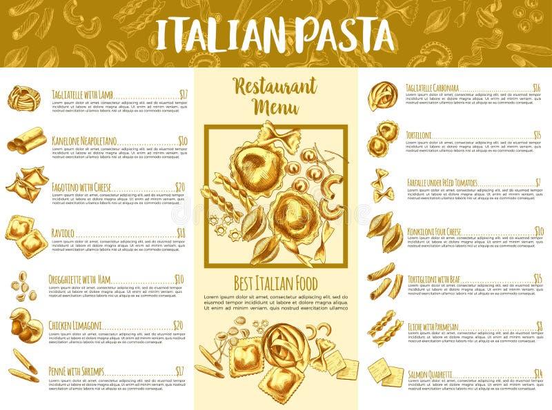 Het Italiaanse malplaatje van het deegwarenmenu voor restaurantontwerp royalty-vrije illustratie