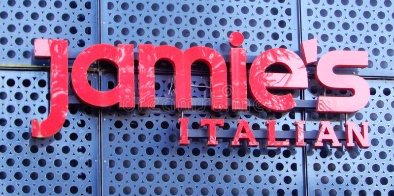 Het Italiaanse Teken van Jamie stock afbeelding
