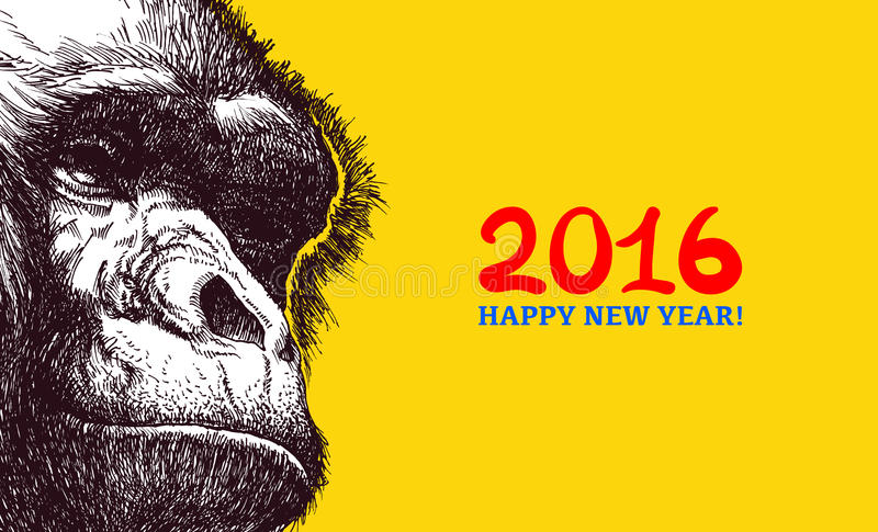 Het jaar van aap vector illustratie