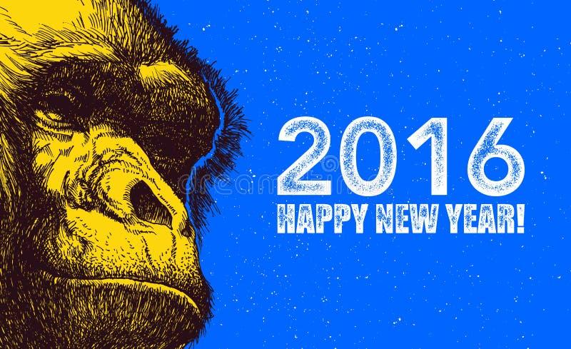 Het jaar van aap Vector illustratie royalty-vrije illustratie