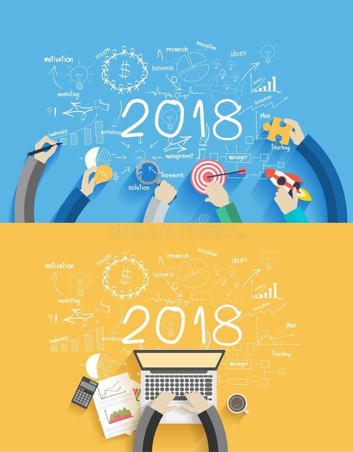 het jaar van bedrijfs 2018 nieuw succes vector illustratie
