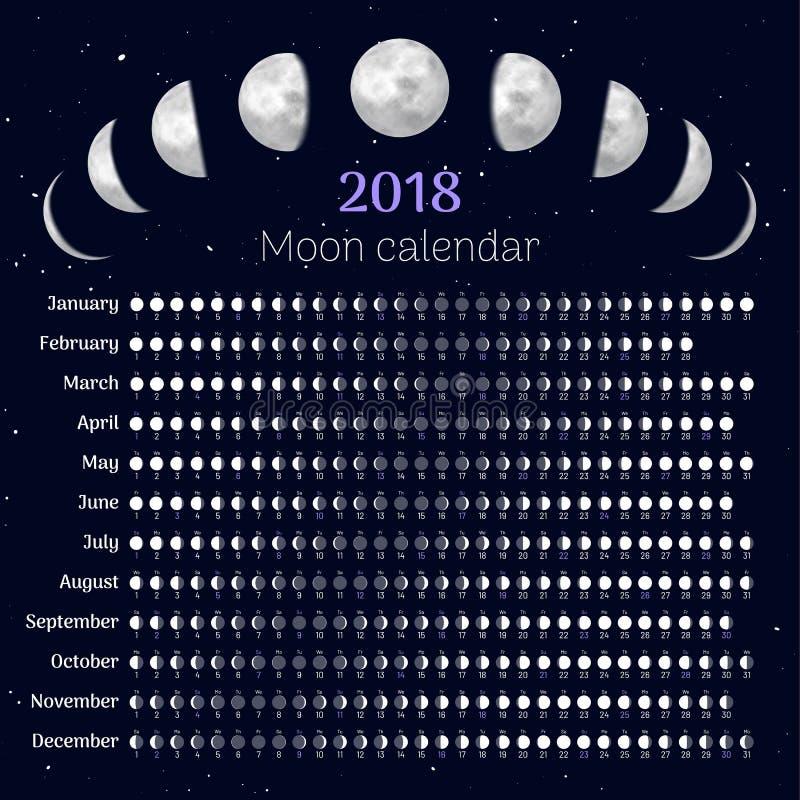 Het jaar van de maankalender 2018 royalty-vrije illustratie
