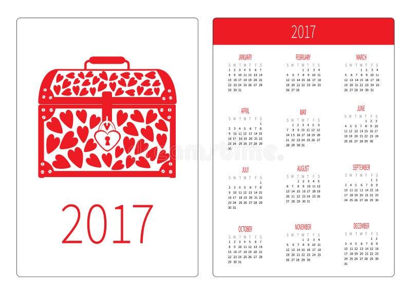 Het jaar van de zakkalender 2017 De week begint Zondag Het vlakke Malplaatje van de ontwerp Verticale richtlijn Borstvaas met rod stock illustratie