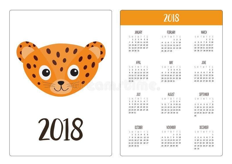 Het jaar van de zakkalender 2018 De week begint Zondag Jaguar-Luipaardhoofd Wild kat het glimlachen gezicht Oranje panter met vle stock illustratie