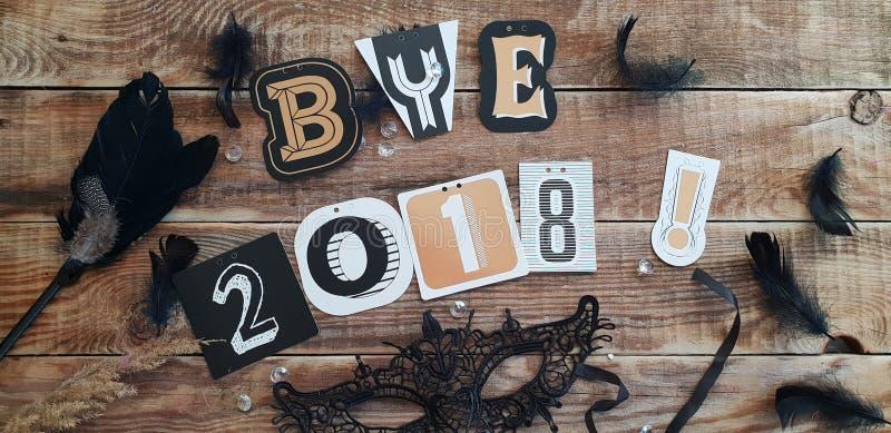 Het Jaar van tot ziens 2018 - afscheid aan het oude jaar royalty-vrije stock foto