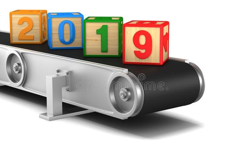het jaar van 2019 Transportband op witte achtergrond Geïsoleerde 3D illustratio stock illustratie