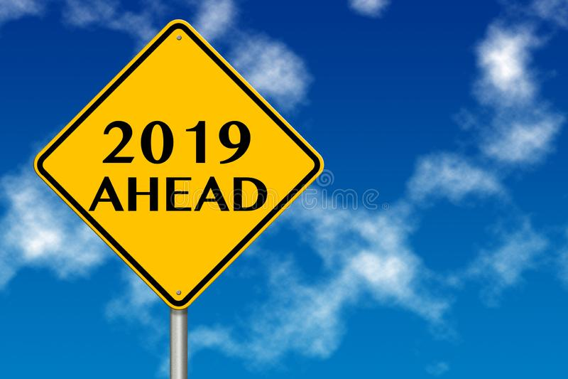 het jaar vooruit verkeersteken van 2019 het 3d teruggeven stock illustratie