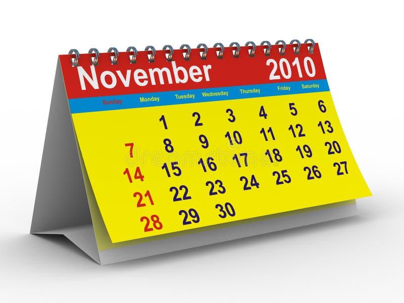 het jaarkalender van 2010. November vector illustratie