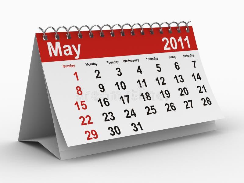 het jaarkalender van 2011. Mei stock illustratie