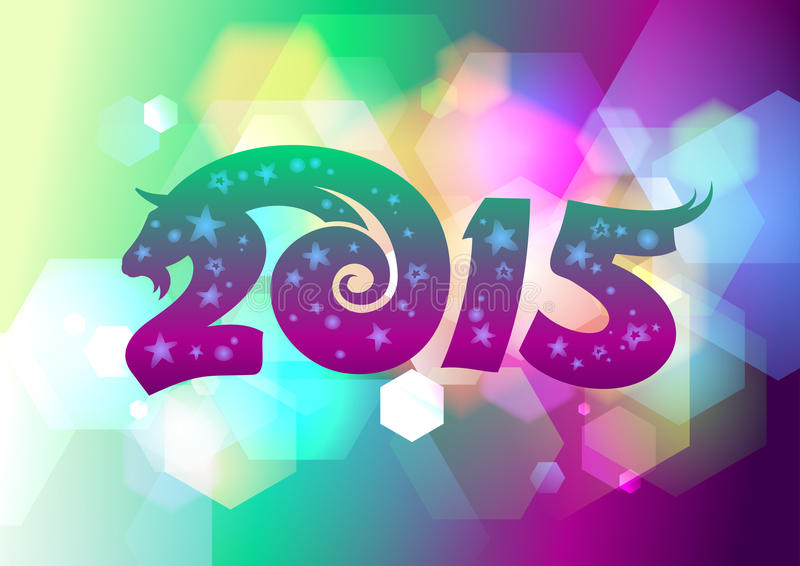 het jaarontwerp van 2014 bokeh vector illustratie