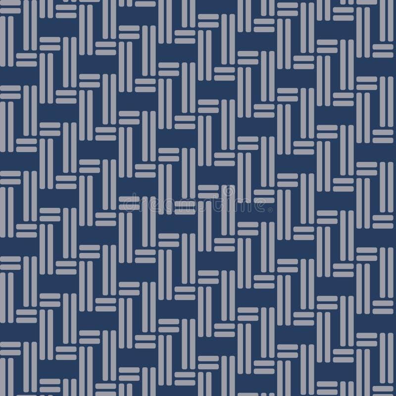 Het Japanse blauwe patroon van het mandweefsel vector illustratie
