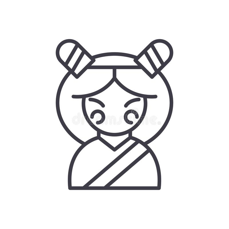 Het Japanse concept van het vrouwen zwarte pictogram Japans vrouwen vlak vectorsymbool, teken, illustratie vector illustratie