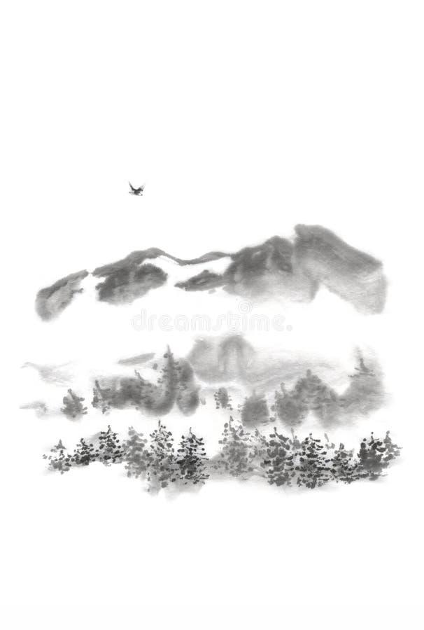 Het Japanse de vogelinkt van de stijl sumi-e berg schilderen royalty-vrije stock afbeelding
