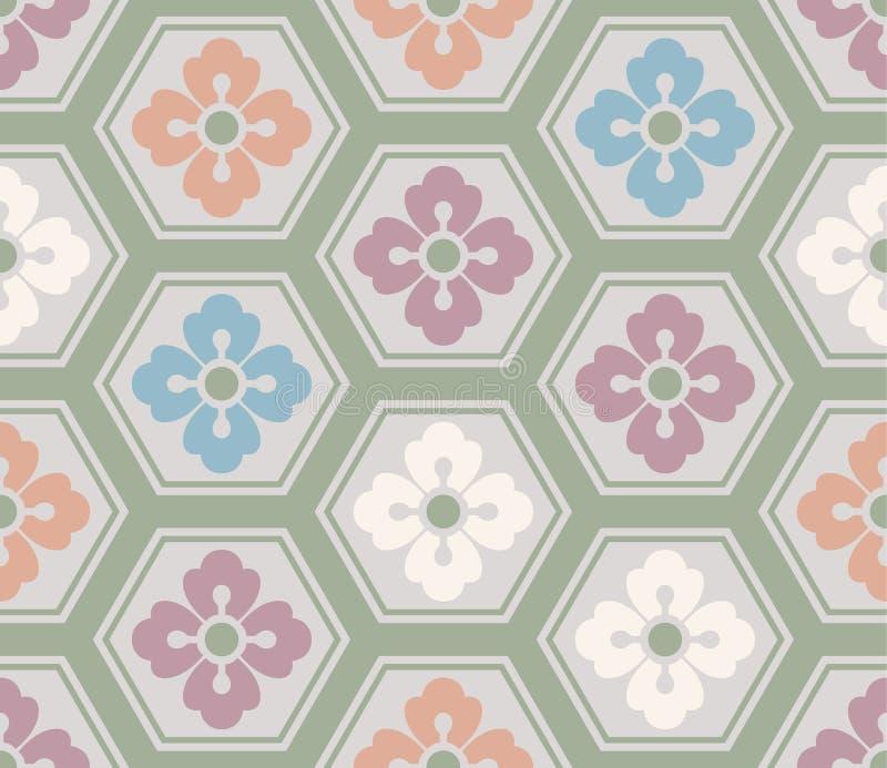 Het Japanse Hexagon Patroon van de Pastelkleurbloem vector illustratie