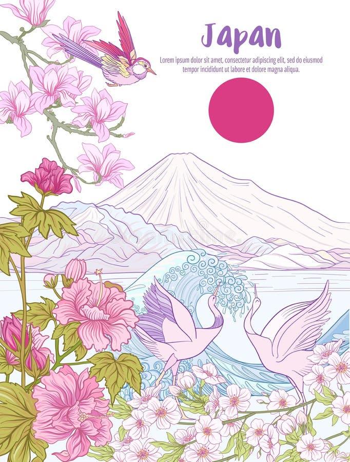 Het Japanse Landschap met Onderstel Fuji, overzees, en traditie bloeit a vector illustratie