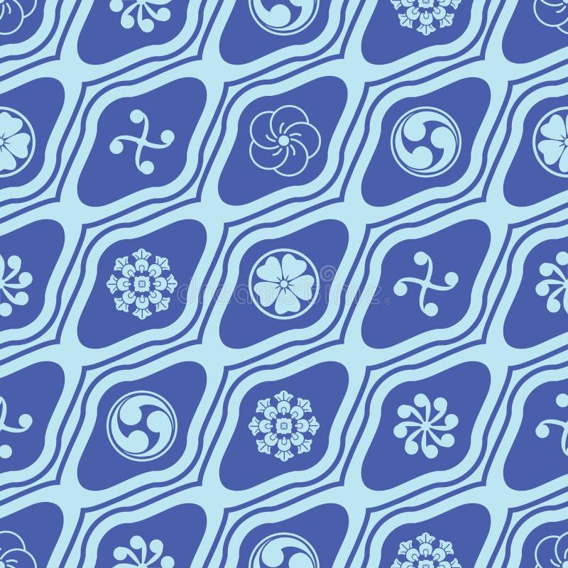 Het Japanse Mon-diagonale naadloze patroon van de diamantvorm royalty-vrije illustratie