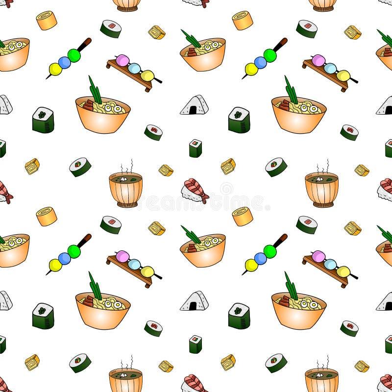 Het Japanse Naadloze Patroon van de Voedselkrabbel, VECTORachtergrond, het Voedsel van de Festivalstraat stock illustratie