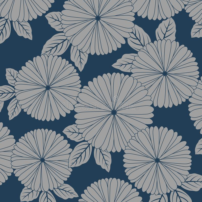 Het Japanse patroon van de chrysantenbloem stock illustratie