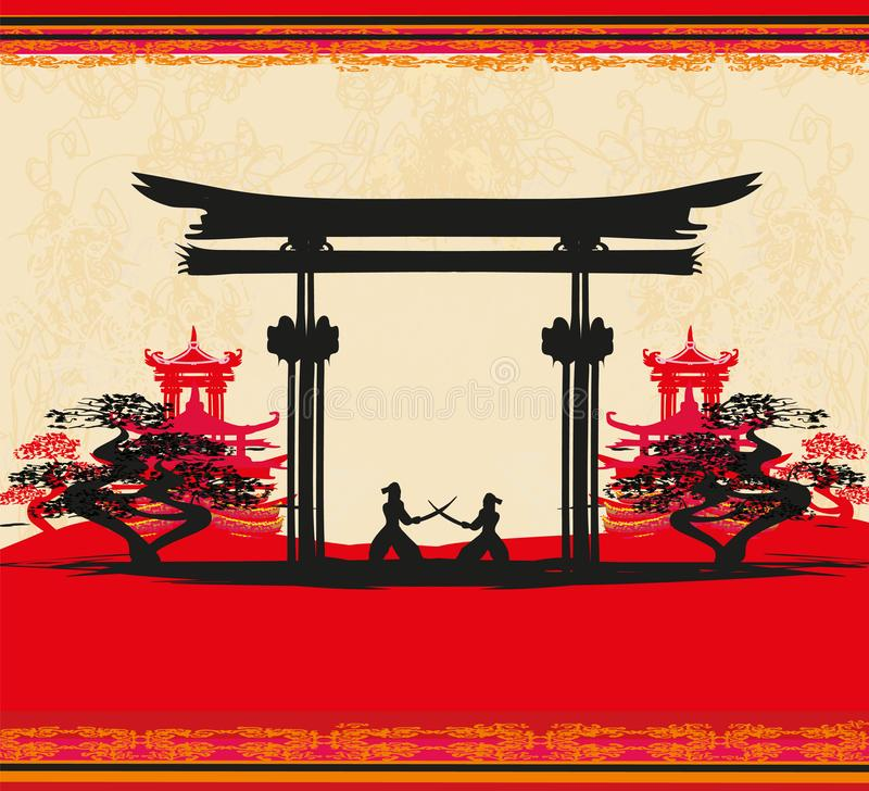 Het Japanse silhouet van Samoeraienvechters op Aziatisch landschap stock illustratie
