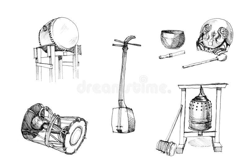 Het Japanse traditionele instrumenten trekken royalty-vrije stock afbeelding
