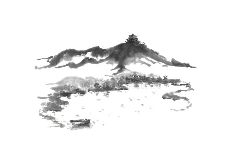 Het Japanse van het stijl sumi-e meer en kasteel inkt schilderen stock illustratie