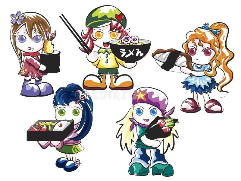 Het Japanse Voedsel van Shoujo vector illustratie