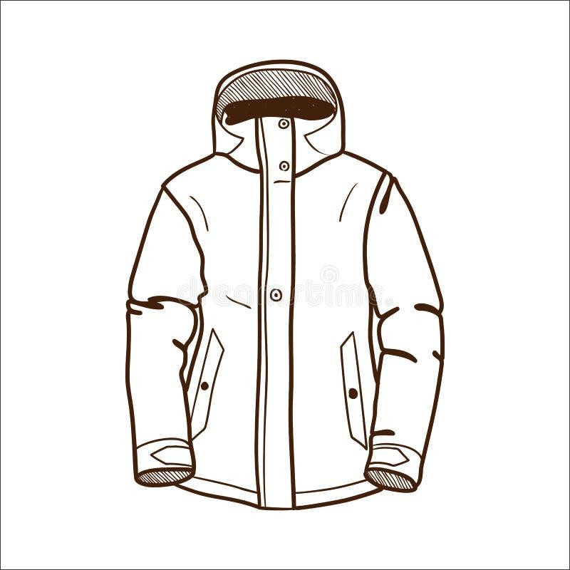 Het jasje van de de wintersport op wit wordt geïsoleerd dat. vector illustratie