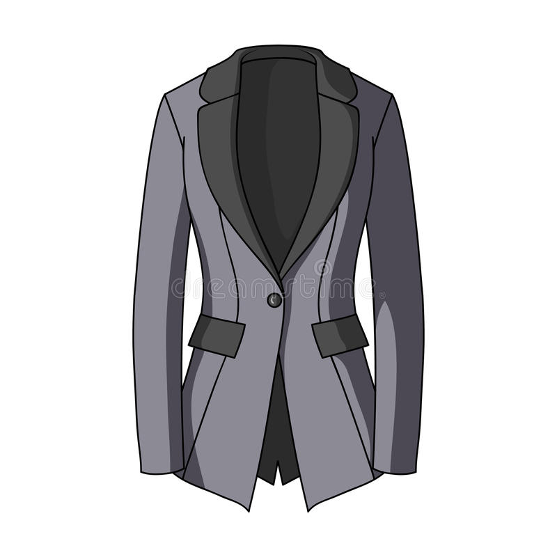 Het jasje van Grey Women ` s met zakken Het werk strenge stijl Vrouwen die enig pictogram in vector het symboolvoorraad van de be vector illustratie