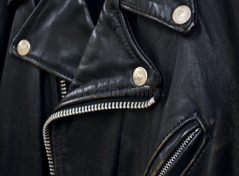 Het jasjedetail van het leer stock foto