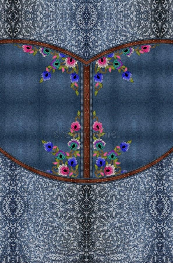 Het jeansborduurwerk bloeit blauwe textuur royalty-vrije stock afbeeldingen