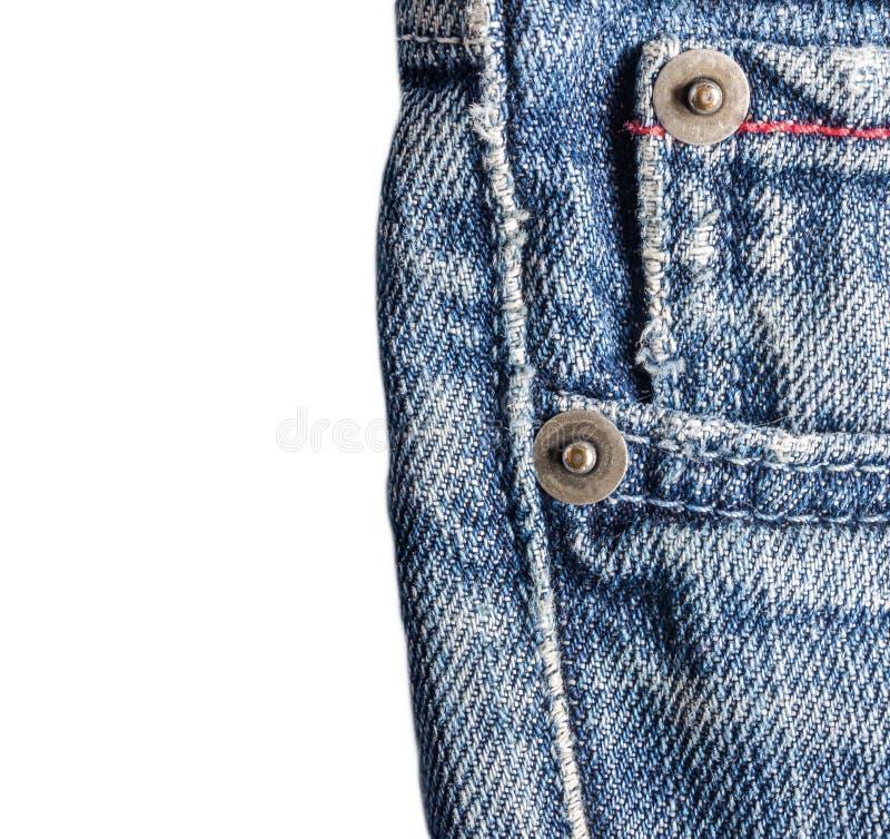 Het jeansclose-up, oud, zakrug, voorzijde, verfrommelde, gescheurd Geïsoleerde stock foto
