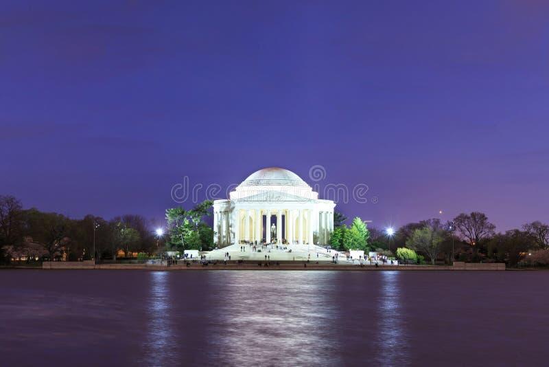 Het Jefferson Gedenkteken bij schemer, Washington DC, de V stock afbeelding
