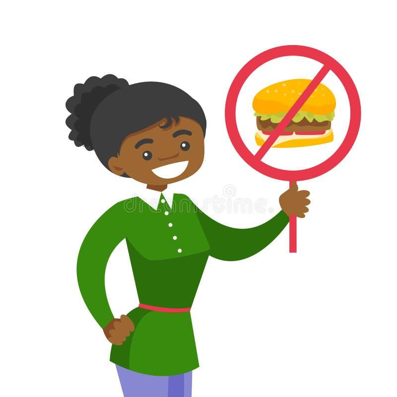 Het jonge aanplakbiljet van de vrouwenholding zonder fastfood teken vector illustratie